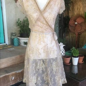 LaBelle Sheer Nude & Gold Metallic Lace Dress Med